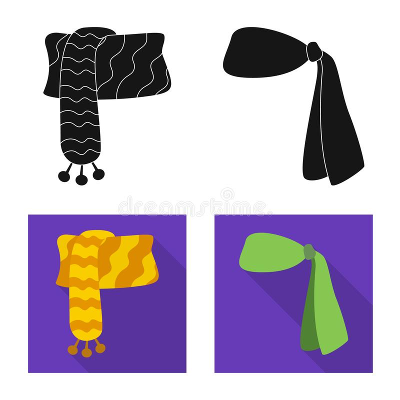 Wektorowa ilustracja szalika i chusty symbol Kolekcja szalika i akcesorium akcyjna wektorowa ilustracja ilustracji