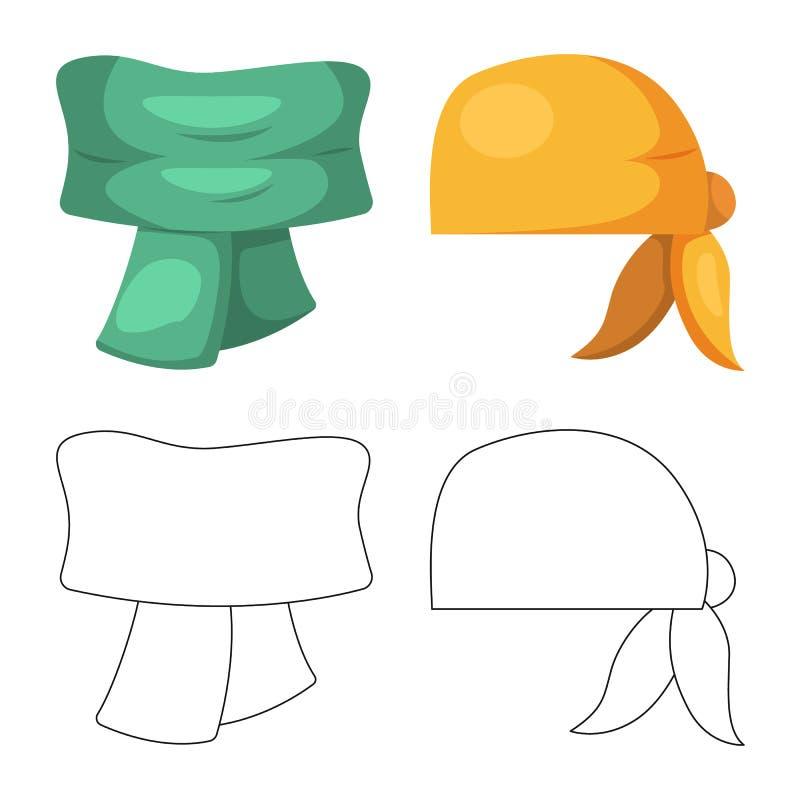 Wektorowa ilustracja szalika i chusty symbol Set szalika i akcesorium akcyjna wektorowa ilustracja royalty ilustracja