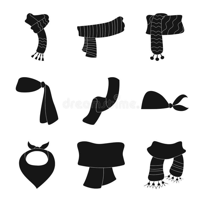 Wektorowa ilustracja szalika i chusty symbol Set szalika i akcesorium akcyjna wektorowa ilustracja ilustracji