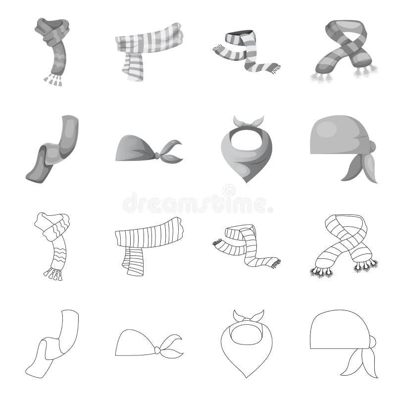 Wektorowa ilustracja szalika i chusty znak Kolekcja szalika i akcesorium akcyjna wektorowa ilustracja ilustracji