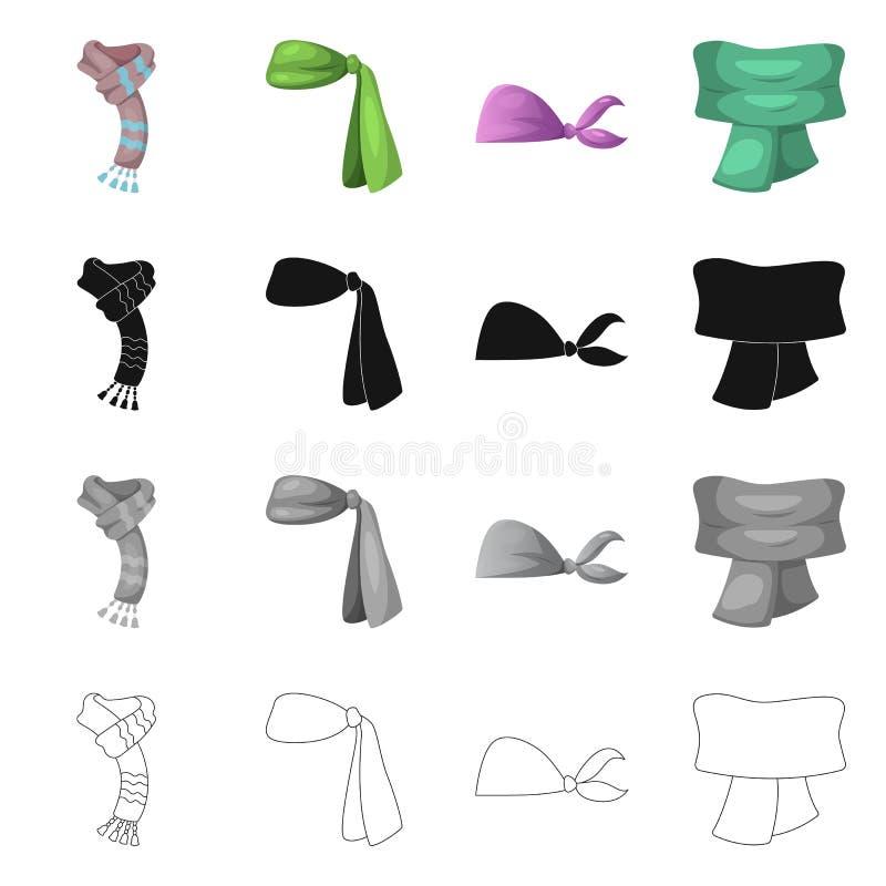 Wektorowa ilustracja szalika i chusty znak Kolekcja szalika i akcesorium akcyjna wektorowa ilustracja royalty ilustracja