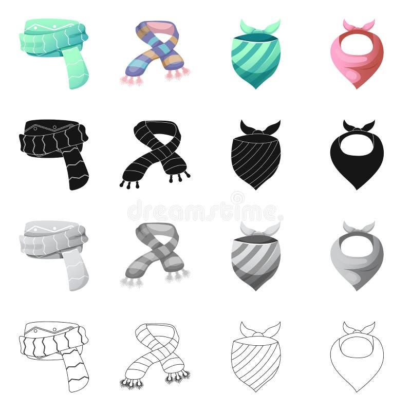 Wektorowa ilustracja szalika i chusty znak Set szalika i akcesorium akcyjna wektorowa ilustracja ilustracja wektor