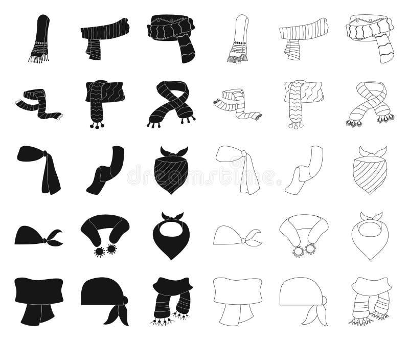 Wektorowa ilustracja szalika i chusty znak Set szalika i akcesorium wektorowa ikona dla zapasu ilustracja wektor