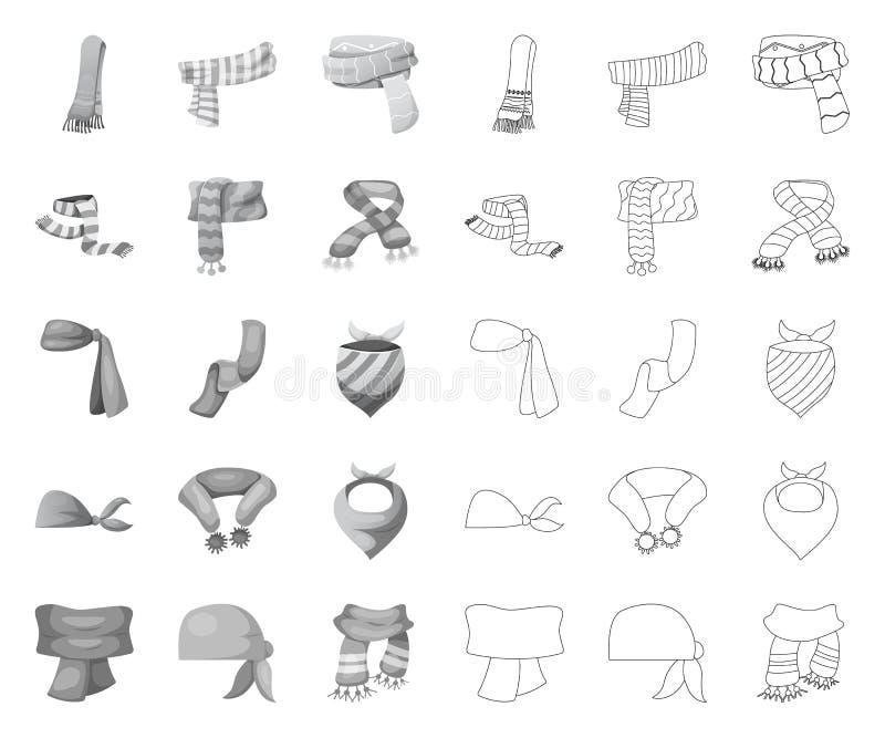Wektorowa ilustracja szalika i chusty znak Set szalika i akcesorium wektorowa ikona dla zapasu ilustracji