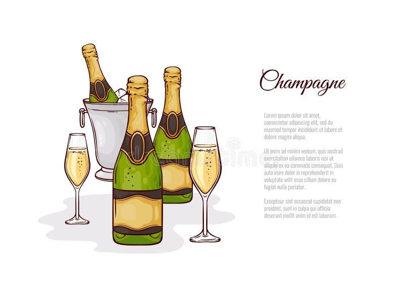 Wektorowa ilustracja szampan w nakreślenie stylu - ręki rysować butelki żywy i dwa wineglasses z napojem ilustracja wektor
