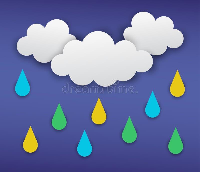 Wektorowa ilustracja szaro?? chmurnieje z deszczem na zmroku - b??kitny t?o obrazy stock