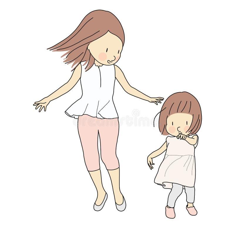 Wektorowa ilustracja szczęśliwa mamy i małego dziecka dziewczyna Rodzina, macierzyństwo, dziecko bawić się, szczęśliwy macierzyst royalty ilustracja