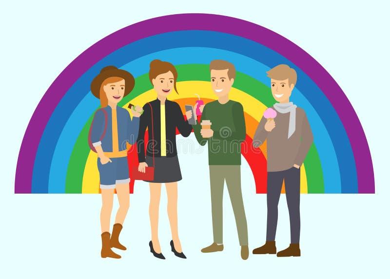 Wektorowa ilustracja szczęśliwa samiec i żeńskie pary różna orientacja seksualna z kolor tęczy tłem ilustracja wektor