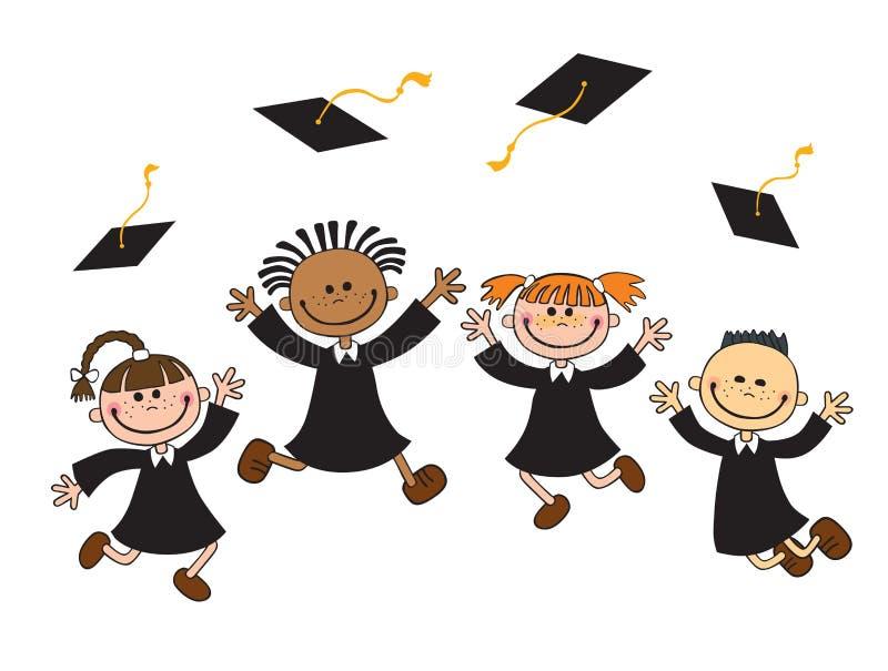 Wektorowa ilustracja szczęśliwi absolwenci z mortarboard ilustracji