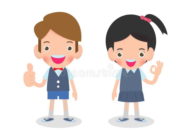 Wektorowa ilustracja Szczęśliwi dzieciaki pokazuje aprobat i przedstawień ręki ok znaka Odizolowywającego na białym tle royalty ilustracja