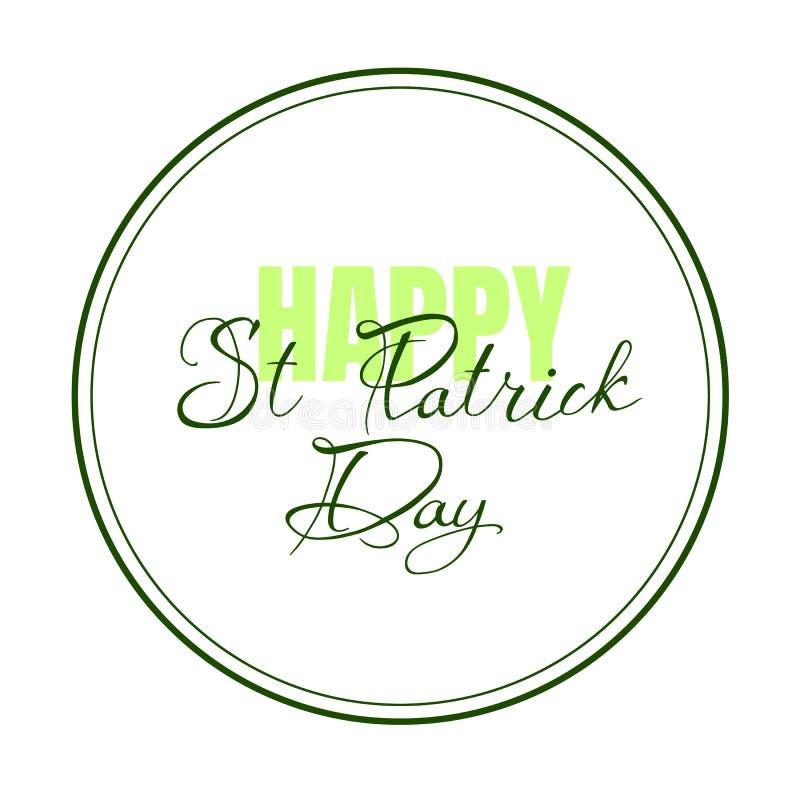Wektorowa ilustracja Szczęśliwy świętego Patrick ` s dnia logotyp Ręka rysująca typografii odznaka z shamrock ilustracja wektor