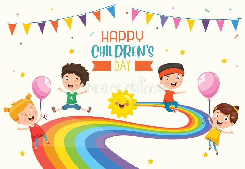 Wektorowa ilustracja Szczęśliwy dziecko dzień royalty ilustracja