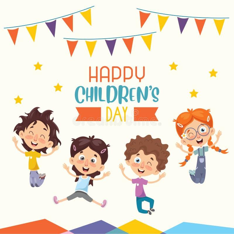 Wektorowa ilustracja Szczęśliwy dziecko dzień ilustracji