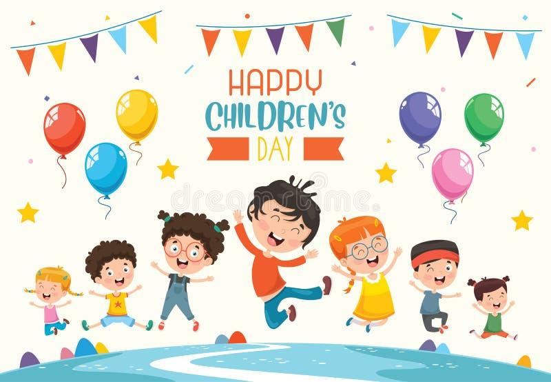 Wektorowa ilustracja Szczęśliwy dziecko dzień ilustracja wektor