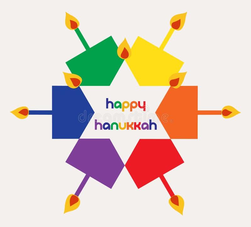 Wektorowa ilustracja - Szczęśliwy Hanukkah z kolorowymi dreidels i świeczkami obrazy royalty free