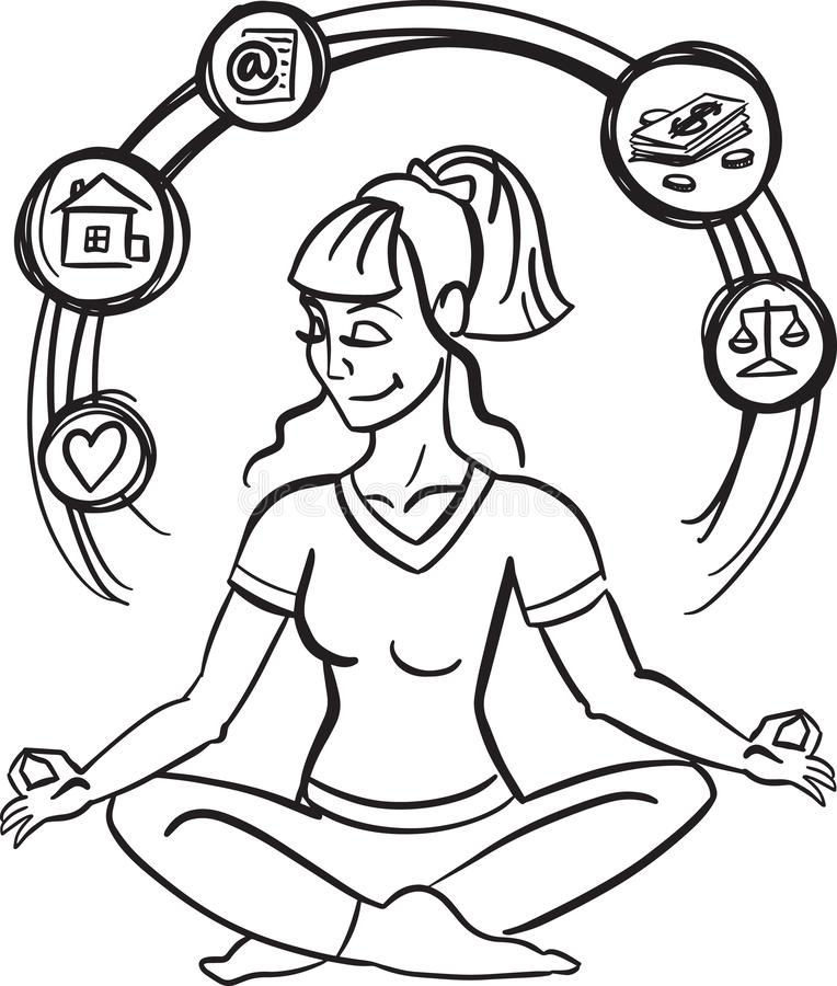 Wektorowa ilustracja szczęśliwy kobiety obsiadanie w lotosowej pozie Ręka rysująca płaska kreskowej sztuki stylowa medytuje dziew royalty ilustracja