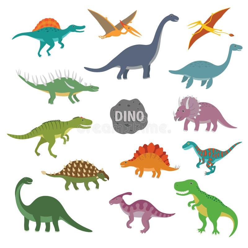 Wektorowa ilustracja szczęśliwy kreskówka dinosaura charakter - set ilustracji