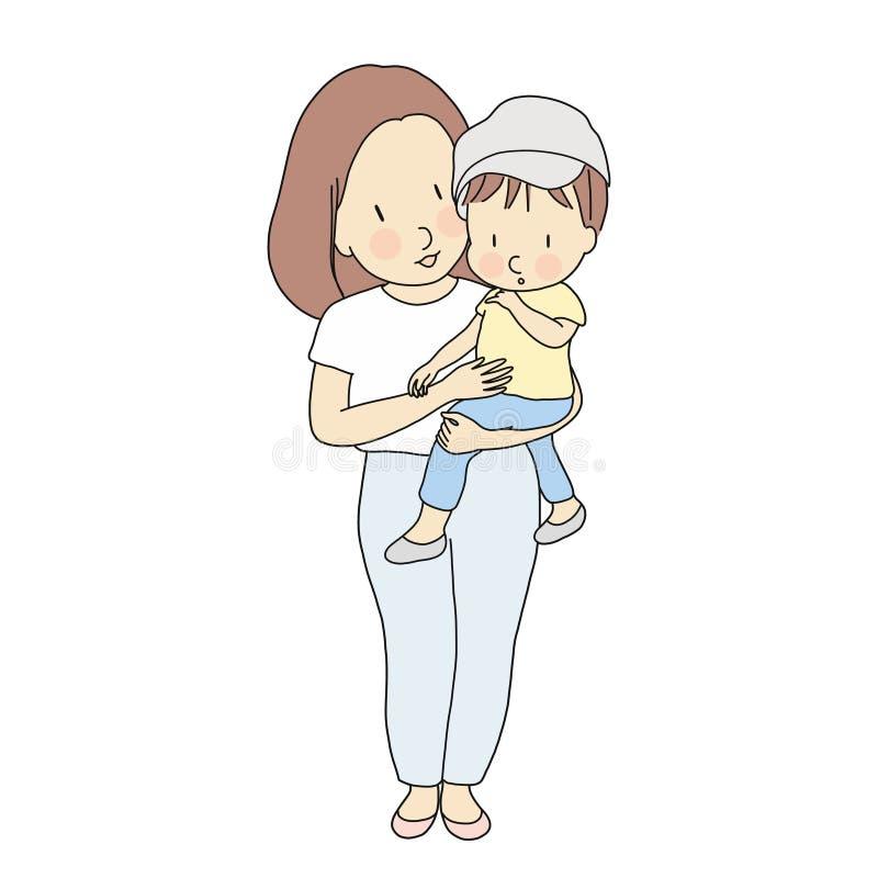 Wektorowa ilustracja szczęśliwy mamy mienia małe dziecko Rodzina, szczęśliwy macierzysty dzień, macierzyństwo, wczesny rozwoju dz royalty ilustracja