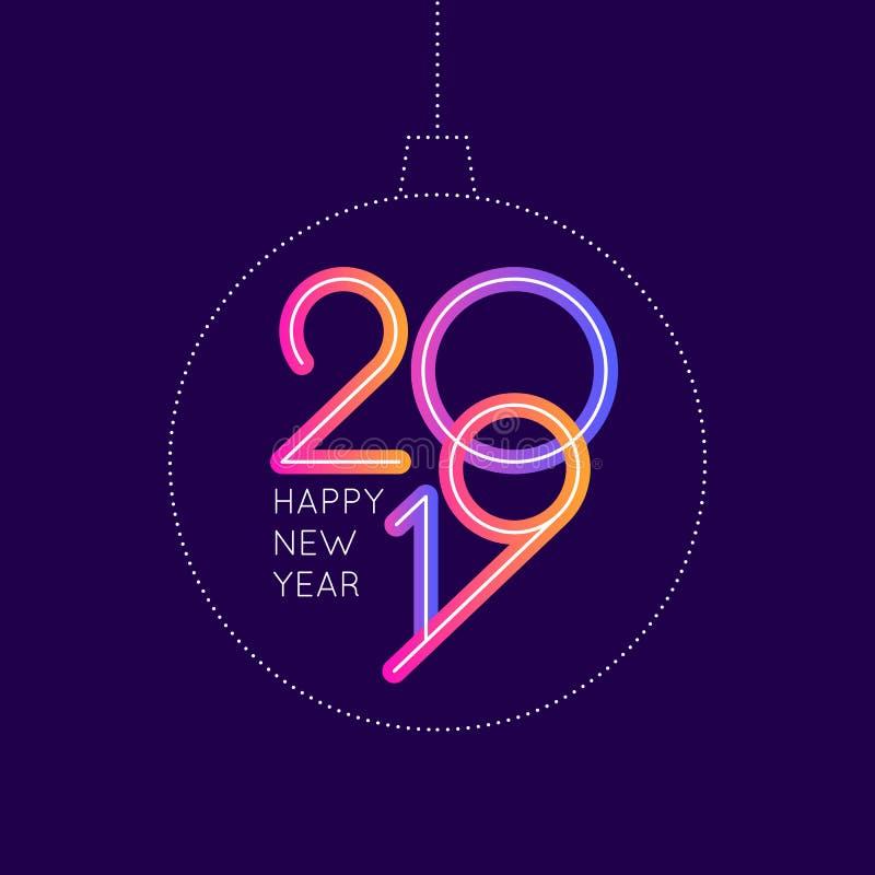 Wektorowa ilustracja Szczęśliwy nowego roku plakat 2019 z piłką, ilustracja wektor