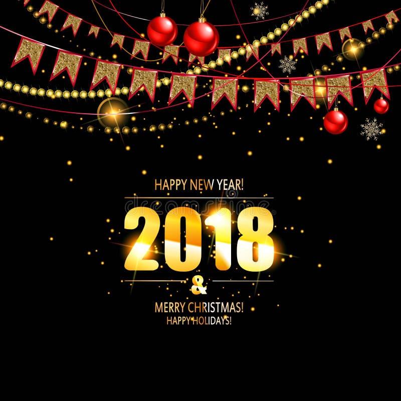 Wektorowa ilustracja szczęśliwy nowy rok 2018 ilustracja wektor