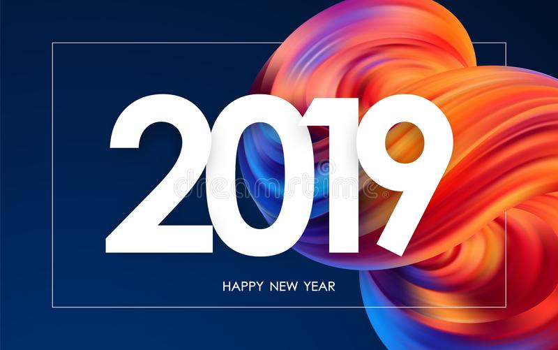 Wektorowa ilustracja: Szczęśliwy nowy rok 2019 Kartka z pozdrowieniami z kolorowym abstrakcjonistycznym rzadkopłynnym kształtem M ilustracja wektor
