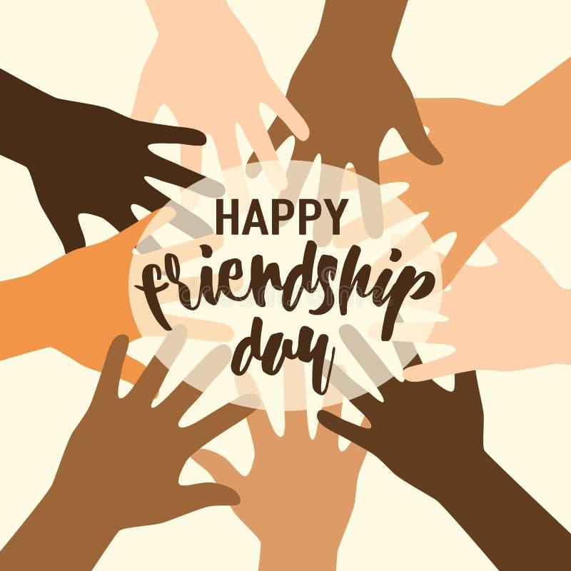 Wektorowa ilustracja szczęśliwy przyjaźń dnia felicitation w płaskim prostym stylu z literowanie teksta znakiem i otwartymi palma royalty ilustracja