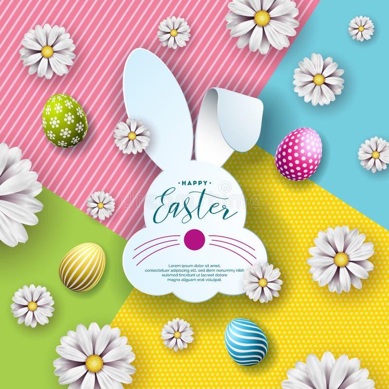 Wektorowa ilustracja Szczęśliwy Wielkanocny wakacje z Ładną królik twarzy sylwetką i typografia listem, kwiat, Malujący jajko royalty ilustracja