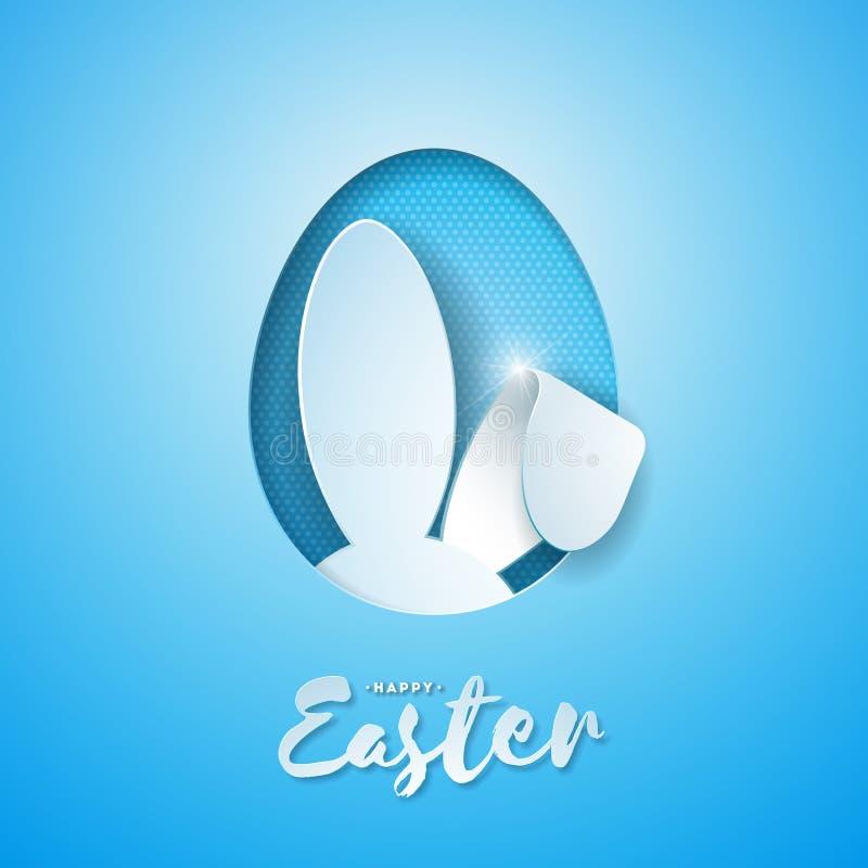 Wektorowa ilustracja Szczęśliwy Wielkanocny wakacje z królików ucho w Tnącym jajku i typografia liście na Błękitnym tle ilustracji