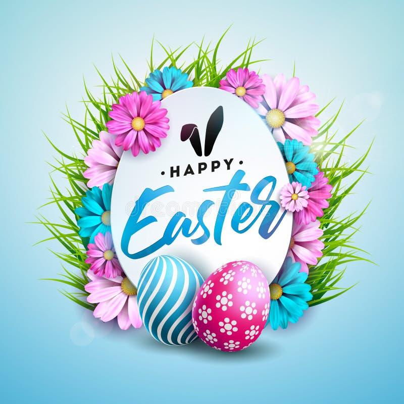 Wektorowa ilustracja Szczęśliwy Wielkanocny wakacje z Malującym jajkiem, kwiatem i Zieloną trawą na Błyszczącym Błękitnym tle, royalty ilustracja