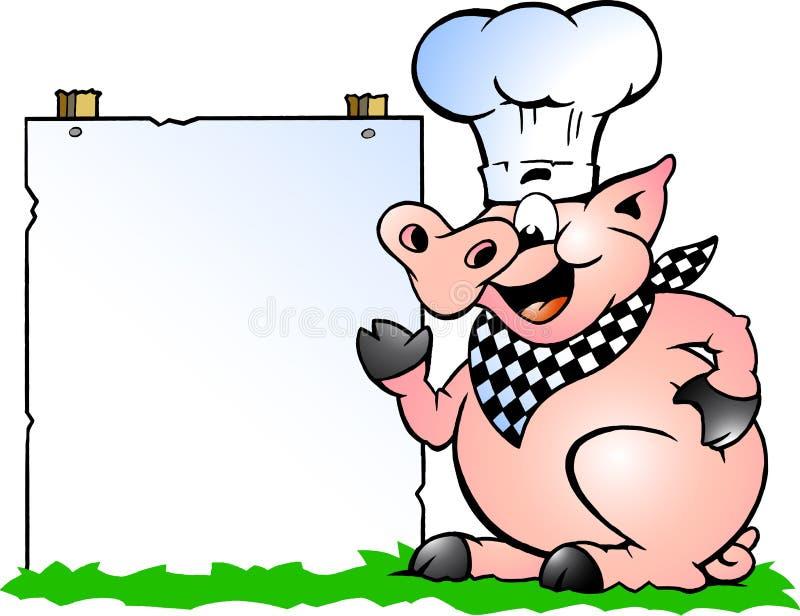 Wektorowa ilustracja szef kuchni Świniowata pozycja, wskazywać w kierunku znaka i ilustracji