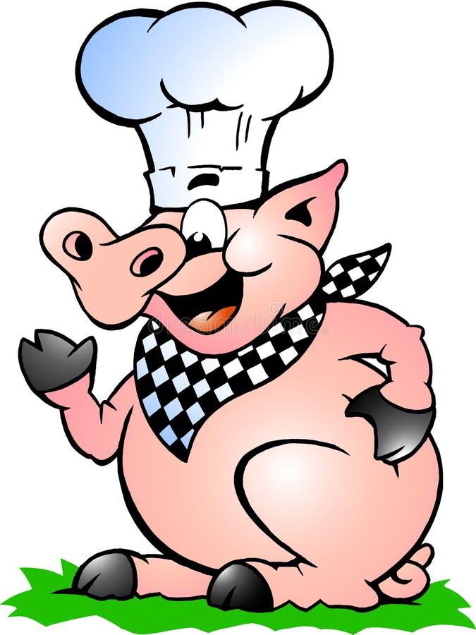 Wektorowa ilustracja szefa kuchni Świniowaci wskazywać i pozycja ilustracji