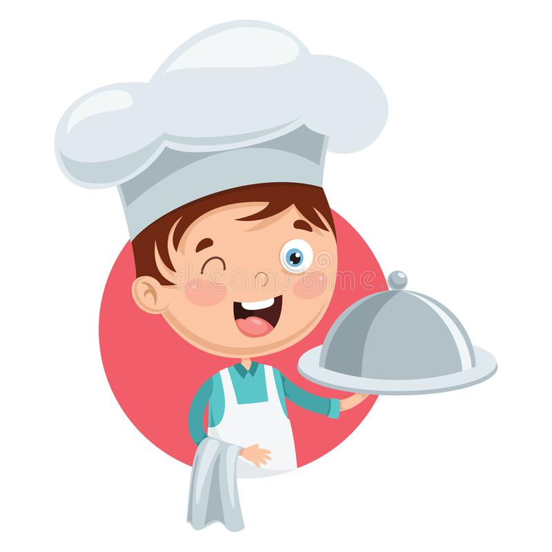 Wektorowa ilustracja szefa kuchni dzieciaka kucharstwo ilustracja wektor