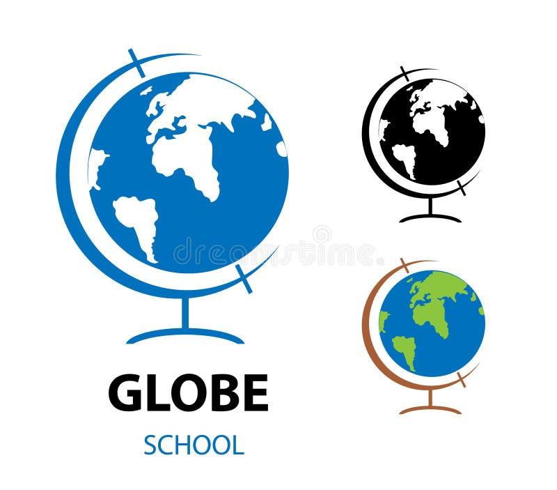 Wektorowa ilustracja szkolna kula ziemska Monochromu i koloru glob royalty ilustracja