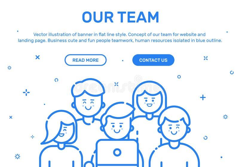 Wektorowa ilustracja sztandar w płaskim kreskowym stylu Pojęcie nasz drużyna dla strony internetowej i wiszącej ozdoby strony int royalty ilustracja