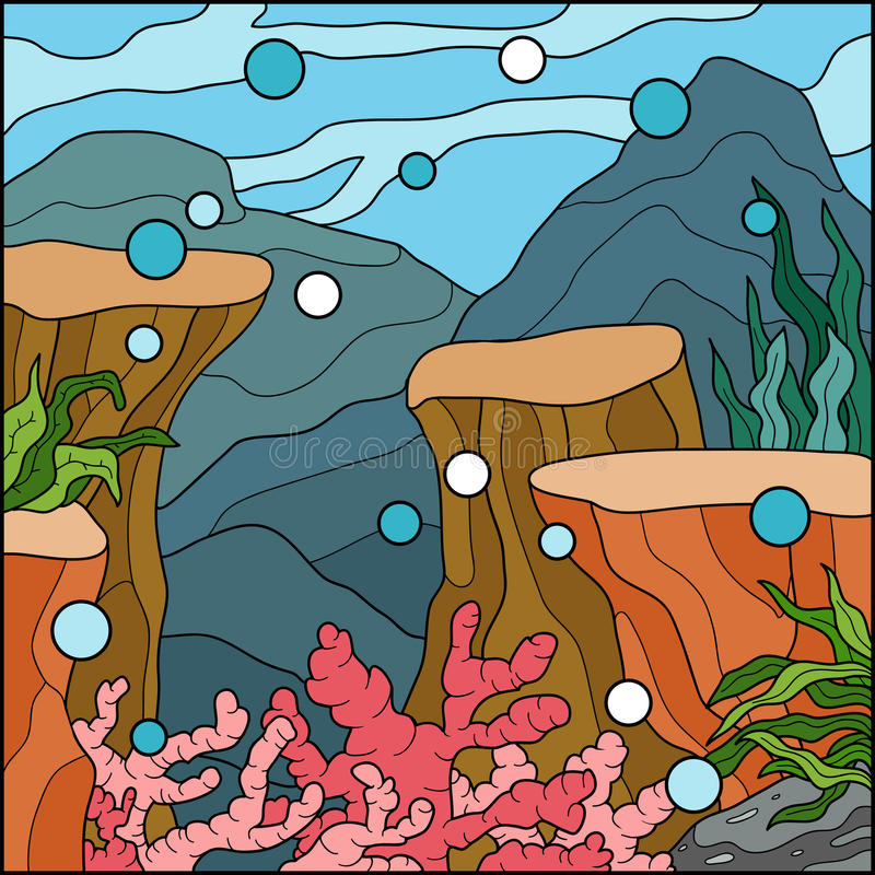 Wektorowa ilustracja, tło (pod morzem) ilustracji