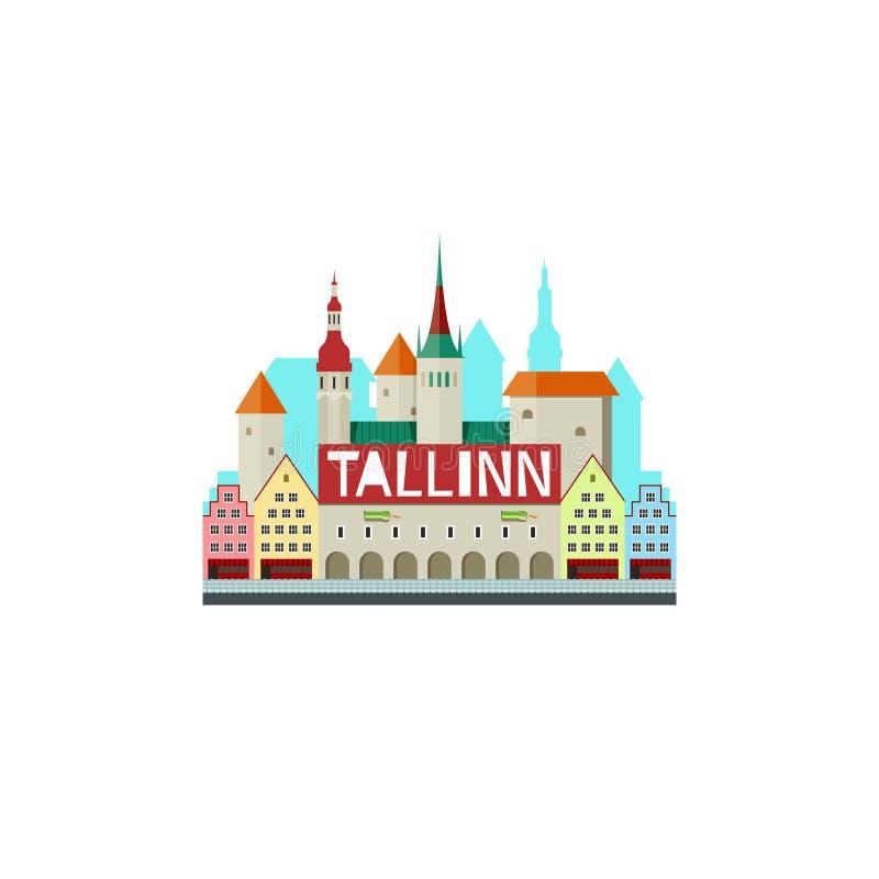 Wektorowa ilustracja Tallinn Estonia z urzędem miasta i ślicznym s royalty ilustracja