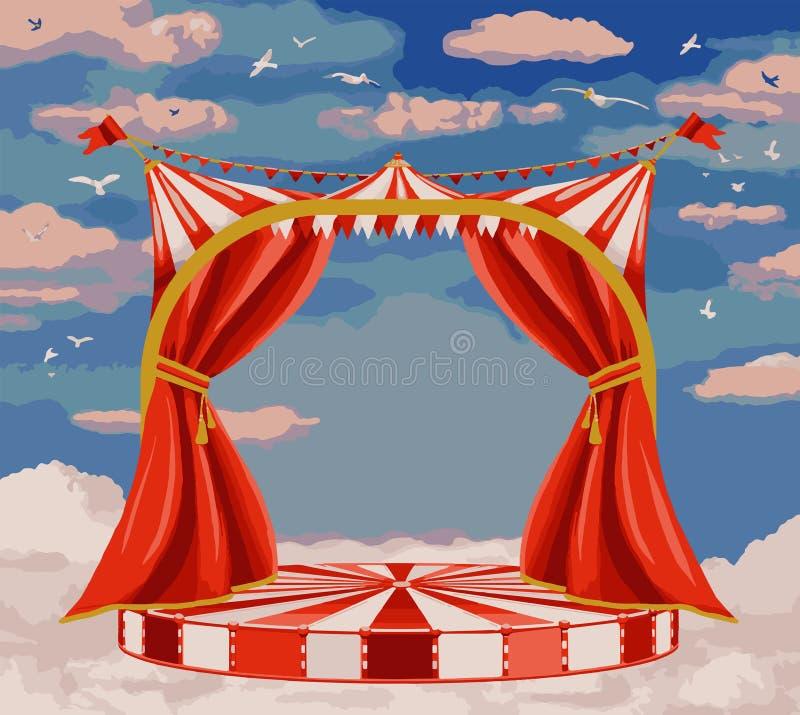 Wektorowa ilustracja teatr scena w niebieskim niebie ilustracja wektor