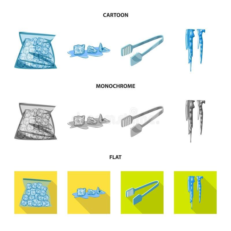 Wektorowa ilustracja tekstura i marznący znak Set tekstura i przejrzysta wektorowa ikona dla zapasu ilustracja wektor
