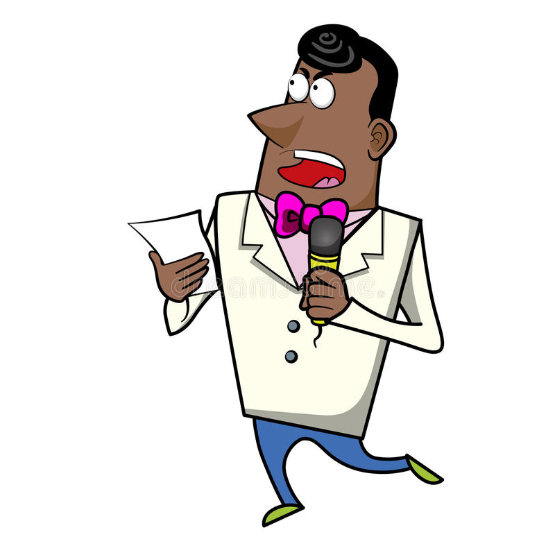 Kreskówka gospodarza Emcee z mikrofonem ilustracji