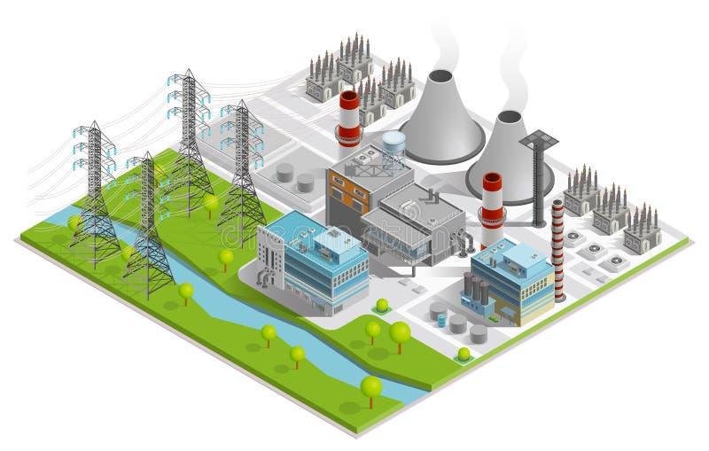 Wektorowa ilustracja Termiczna elektrownia ilustracja wektor