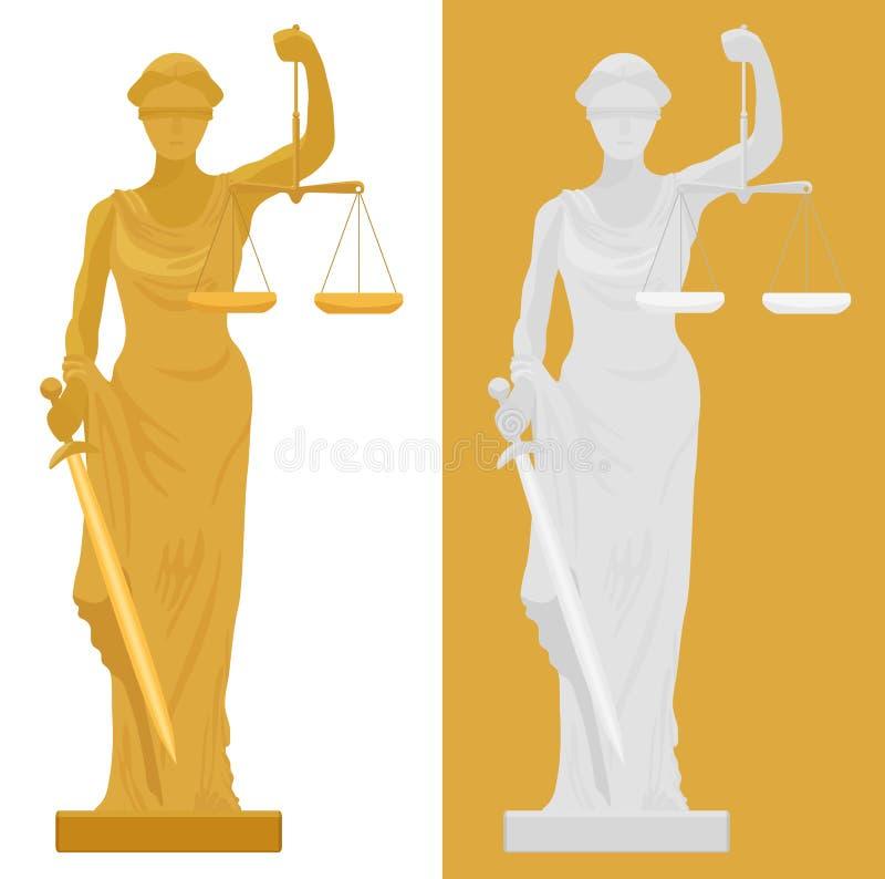 Wektorowa ilustracja Themis Femida statua w dwa kolorów stylach ilustracji