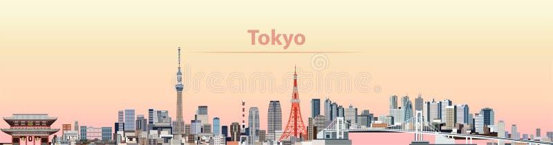 Wektorowa ilustracja Tokio miasta linia horyzontu przy wschodem słońca royalty ilustracja
