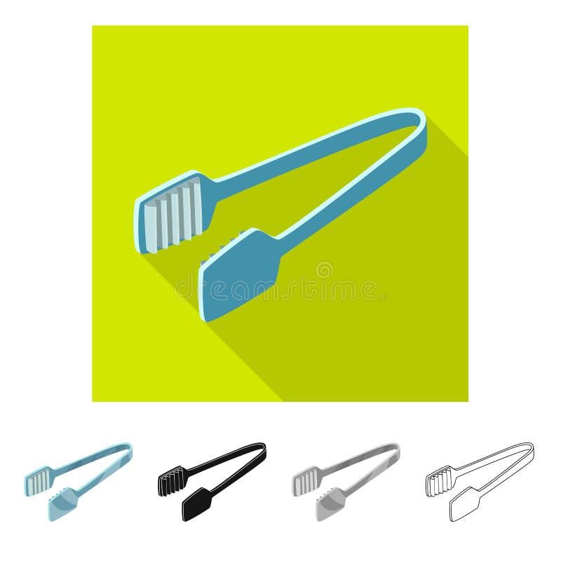 Wektorowa ilustracja tongs i dishware ikona Set tongs i cukierniany akcyjny symbol dla sieci ilustracja wektor