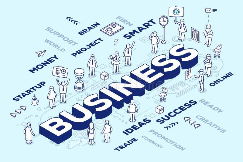 Wektorowa ilustracja trójwymiarowy słowo biznes z peop ilustracji