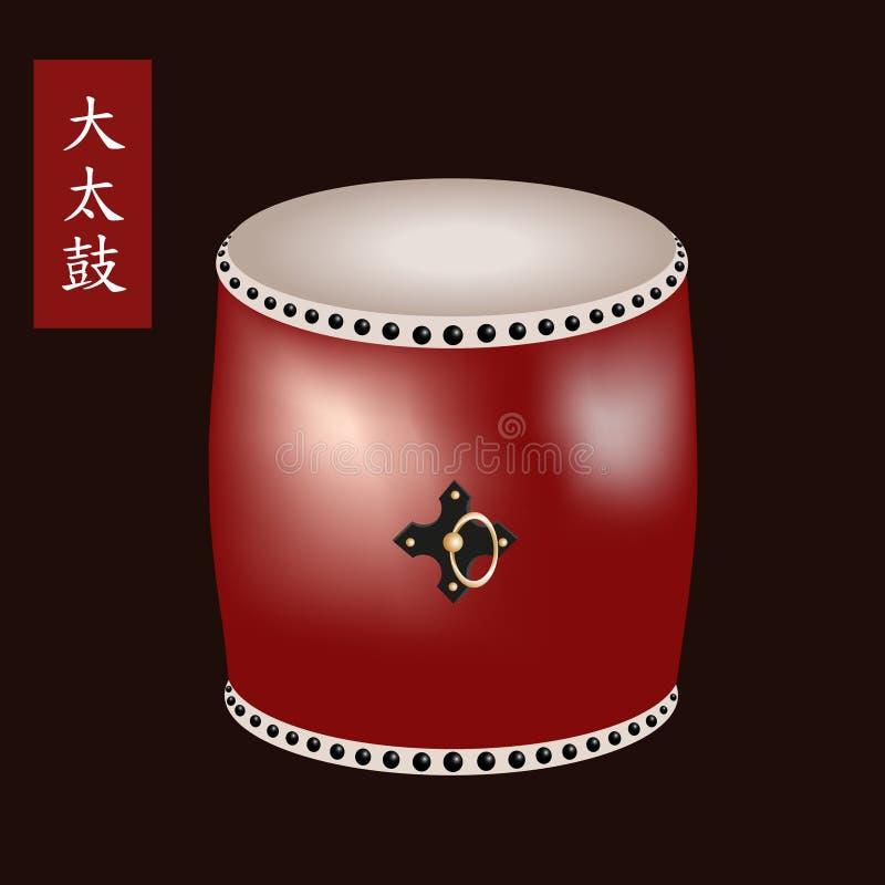 Wektorowa ilustracja Tradycyjny azjatykci perkusja instrument Taiko lub O-Daiko bęben Imię bęben Odaiko jest ilustracji