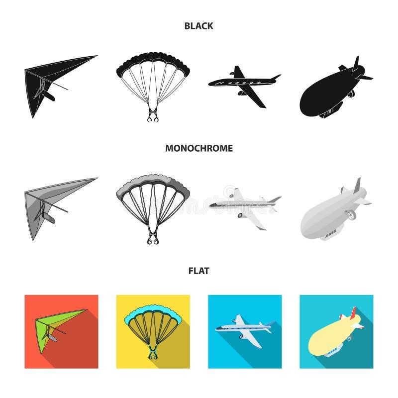 Wektorowa ilustracja transportu i przedmiota ikona Set transportu i szybownictwa akcyjny symbol dla sieci royalty ilustracja