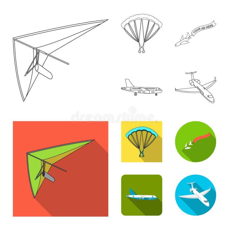 Wektorowa ilustracja transportu i przedmiota logo Set transport i szybownicza wektorowa ikona dla zapasu royalty ilustracja