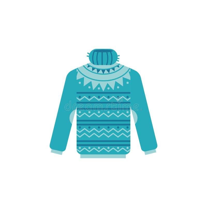 Wektorowa ilustracja trykotowy pulower z wysoką szyją odizolowywającą na białym tle ilustracja wektor