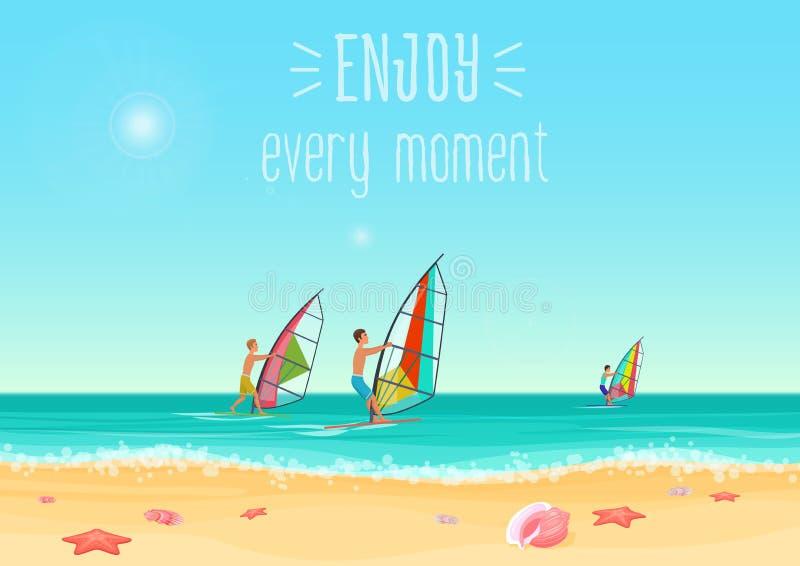 Wektorowa ilustracja trzy ludzie windsurfing w morzu z cieszy się każdy momentu słowa royalty ilustracja