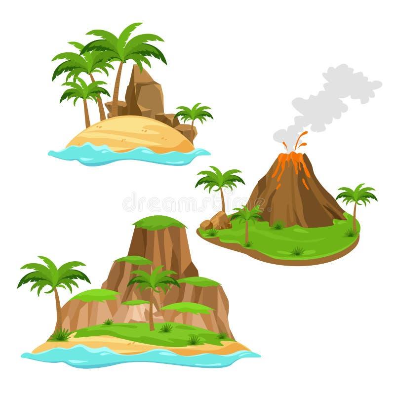 Wektorowa ilustracja trzy różnej wyspy na białym tle w kreskówka stylu Wyspy z wulkanem, drzewka palmowe royalty ilustracja